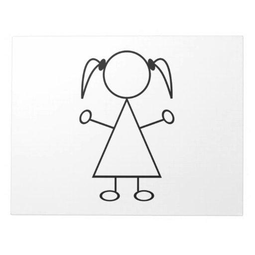 Stick Figure Girl Note Pads