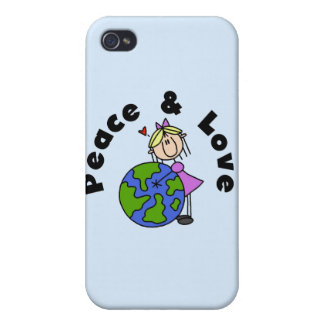 Stick Figure Girl Peace and Love and Gift iPhone 4/4S Cover