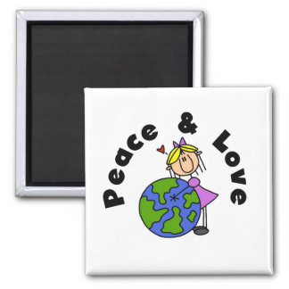 Stick Figure Girl Peace and Love T-shirts and Gift 2 Inch Square Magnet