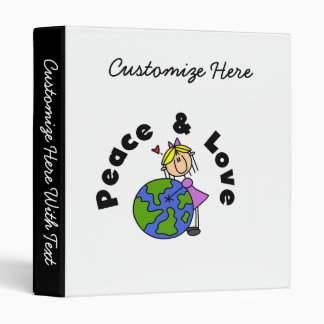 Stick Figure Girl Peace and Love T-shirts and Gift 3 Ring Binder