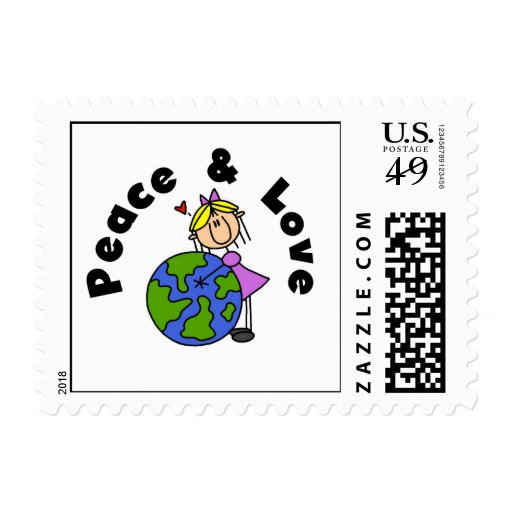 Stick Figure Girl Peace and Love T-shirts and Gift Postage