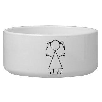 Stick Figure Girl Dog Food Bowl