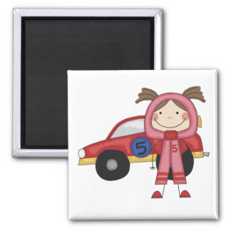 Stick  Figure Girl Race Car Driver Tshirts 2 Inch Square Magnet