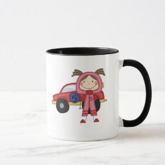 Stick  Figure Girl Race Car Driver Tshirts Mug
