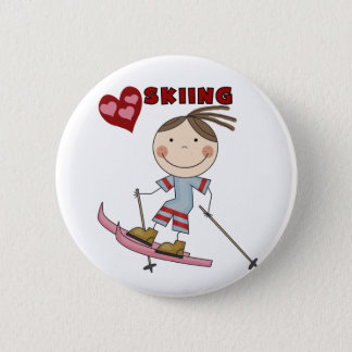 Stick Figure  Girl Skier Tshirts and Gifts Button