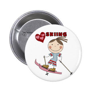 Stick Figure  Girl Skier Tshirts and Gifts Pinback Buttons