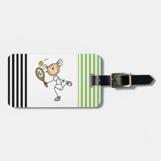 Stick Figure Girl Tennis Player T-shirts and Gifts Bag Tag
