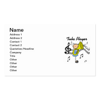 Stick Figure Girl Tuba Player T-shirts and GIfts Business Card