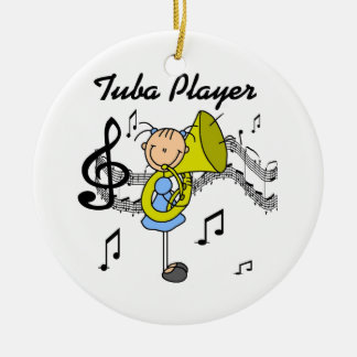 Stick Figure Girl Tuba Player T-shirts and GIfts Ceramic Ornament