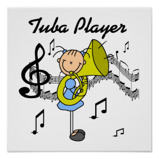 Stick Figure Girl Tuba Player T-shirts and GIfts Poster