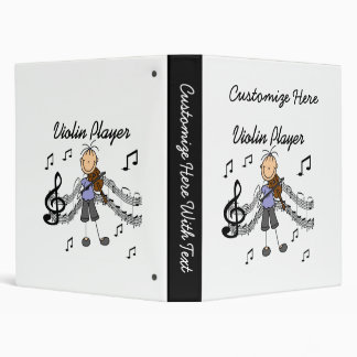 Stick Figure Girl Violin Player T-shirts and Gifts Vinyl Binders