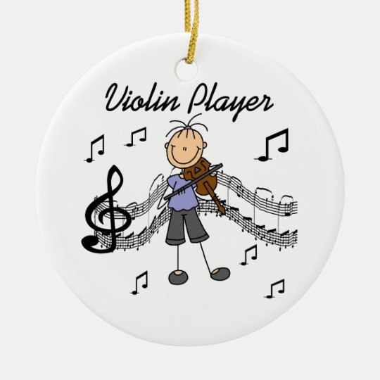 Stick Figure Girl Violin Player T-shirts and Gifts Ceramic Ornament