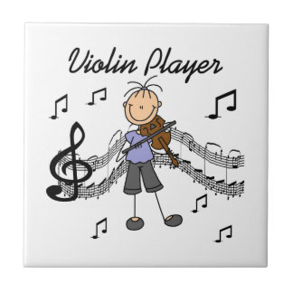 Stick Figure Girl Violin Player T-shirts and Gifts Ceramic Tile