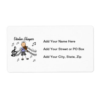 Stick Figure Girl Violin Player T-shirts and Gifts Label