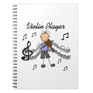 Stick Figure Girl Violin Player T-shirts and Gifts Spiral Notebook