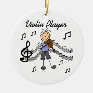 Stick Figure Girl Violin Player T-shirts and Gifts Double-Sided Ceramic Round Christmas Ornament