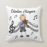 Stick Figure Girl Violin Player T-shirts and Gifts Throw Pillows