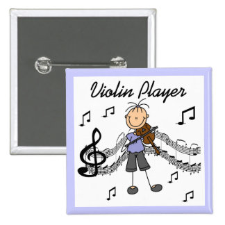 Stick Figure Girl Violin Player T-shirts and Gifts Pinback Button