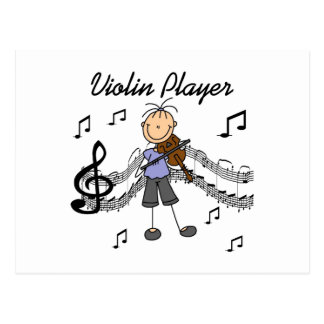 Stick Figure Girl Violin Player T-shirts and Gifts Postcard