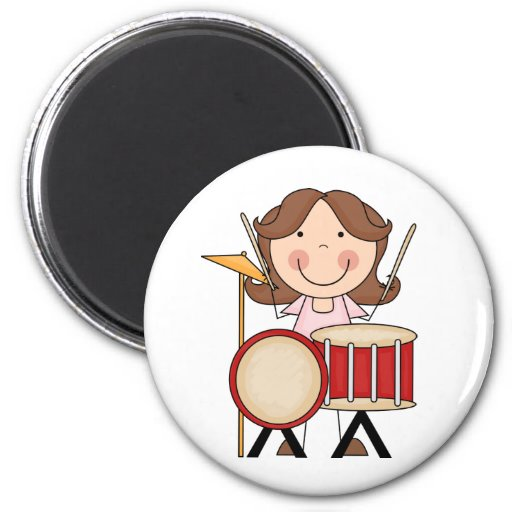 Stick Figure Girl With Drums 2 Inch Round Magnet