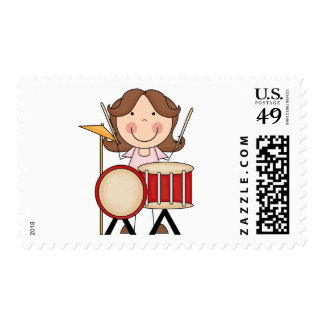 Stick Figure Girl With Drums Postage Stamps