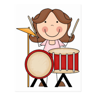 Stick Figure Girl With Drums Postcard