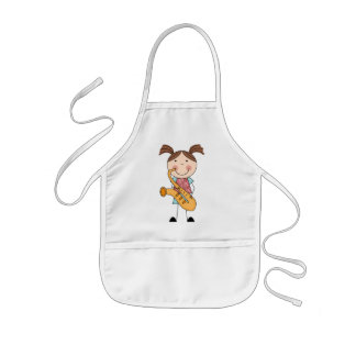 Stick Figure Girl With Saxophone Kids' Apron