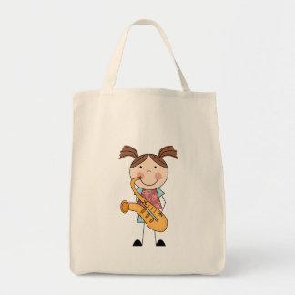 Stick Figure Girl With Saxophone Grocery Tote Bag