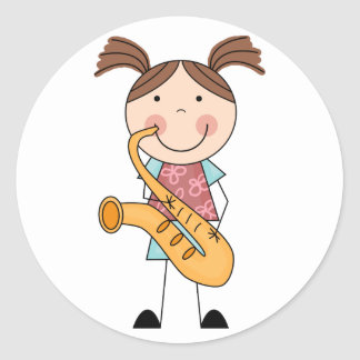 Stick Figure Girl With Saxophone Classic Round Sticker