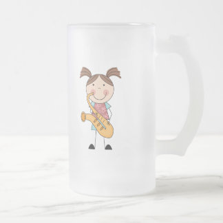 Stick Figure Girl With Saxophone 16 Oz Frosted Glass Beer Mug