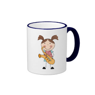 Stick Figure Girl With Saxophone Ringer Coffee Mug