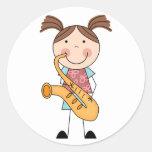 Stick Figure Girl With Saxophone Round Sticker