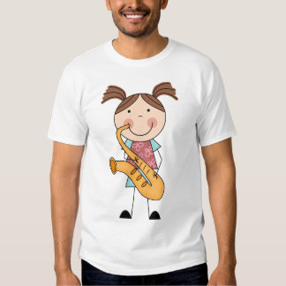 Stick Figure Girl With Saxophone T Shirt