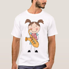 Stick Figure Girl With Saxophone T-shirt at Zazzle