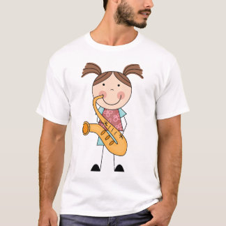 Stick Figure Girl With Saxophone T-Shirt
