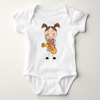 Stick Figure Girl With Saxophone Tee Shirt