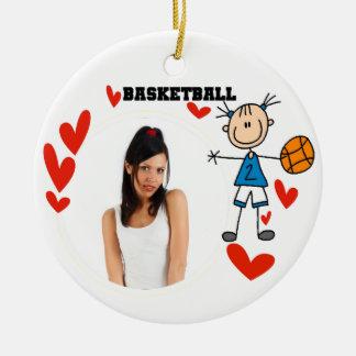 Stick Figure Girls Basketball Photo Ornament