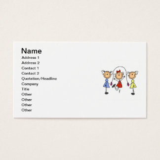Stick Figure GIrls Jumping Rope Business Card