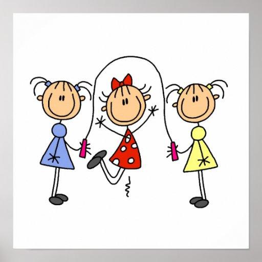 stick figure girls jumping rope poster zazzle