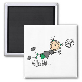 Stick Figure Girls Volleyball T-shirts and Gifts 2 Inch Square Magnet