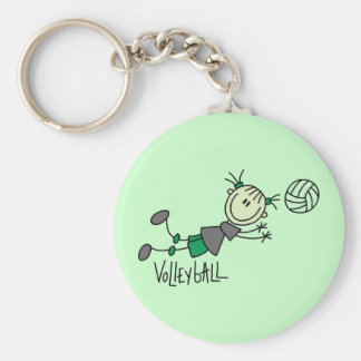 Stick Figure Girls Volleyball T-shirts and Gifts Basic Round Button Keychain