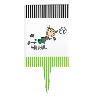 Stick Figure Girls Volleyball T-shirts and Gifts Cake Topper