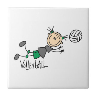 Stick Figure Girls Volleyball T-shirts and Gifts Ceramic Tile