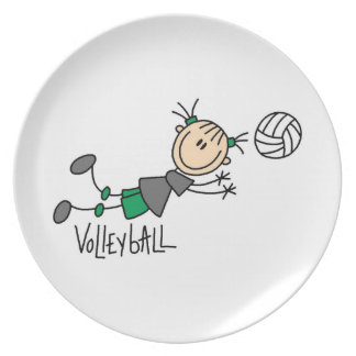 Stick Figure Girls Volleyball T-shirts and Gifts Dinner Plate
