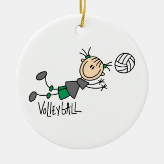 Stick Figure Girls Volleyball T-shirts and Gifts Double-Sided Ceramic Round Christmas Ornament
