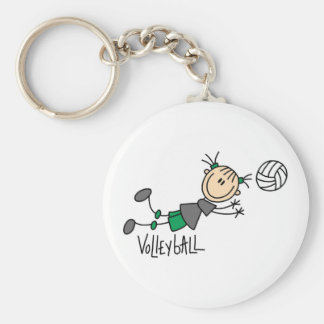 Stick Figure Girls Volleyball T-shirts and Gifts Keychain