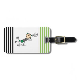Stick Figure Girls Volleyball T-shirts and Gifts Luggage Tags