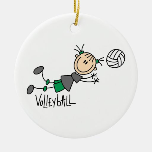 Stick Figure Girls Volleyball T-shirts and Gifts Christmas Tree Ornament