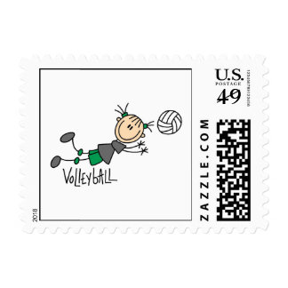 Stick Figure Girls Volleyball T-shirts and Gifts Postage Stamp