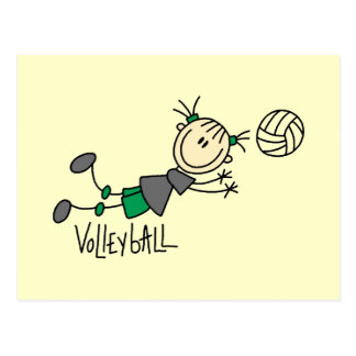 Stick Figure Girls Volleyball T-shirts and Gifts Postcards